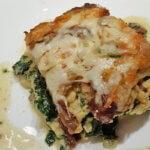 Polenta-Lasagne mit Spinat und Pilzen