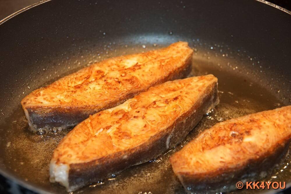 Heilbutt Koteletts fertig gebraten