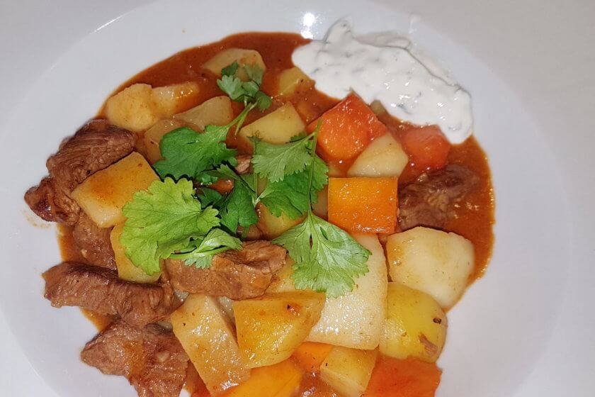 Lamm Curry mit Birnen und Papaya