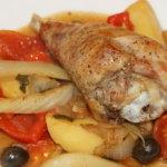 Putenkeule mit Fenchel, Oliven und Oregano