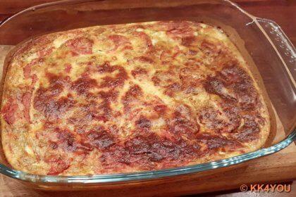Schafskäse-Soufflé frisch aus dem Ofen