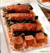 Thunfisch -Saltimbocca mit Spinat